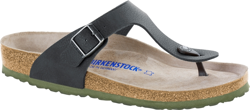 Birkenstock Gizeh Sandal-Soft Footbed in Black/Green