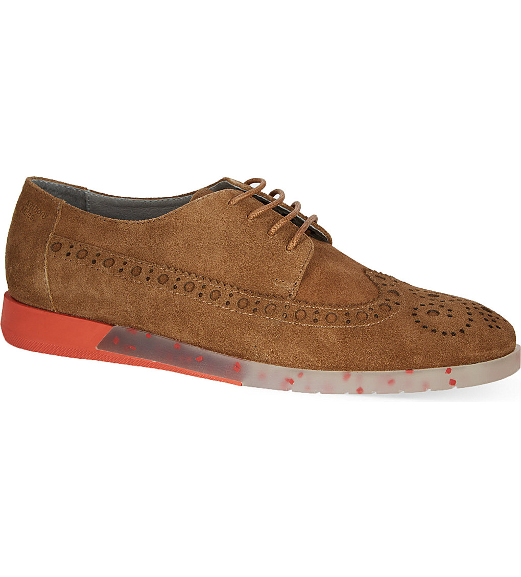 Anthony Miles Men's Clipstone Tan Suede Brogue