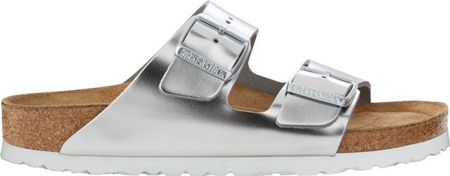 Birkenstock Women's Arizona Silver Leather-soft footbed