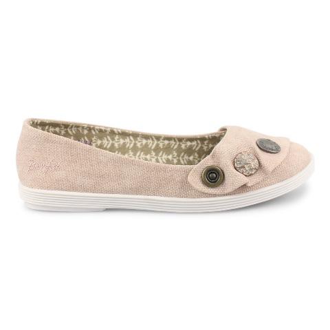 Blowfish Women's Gayls Flat Shoe in Blush Canvas