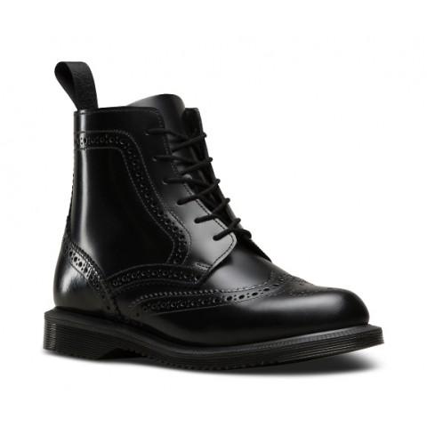 Dr Martens Delphine Brogue Boot - Smooth Black