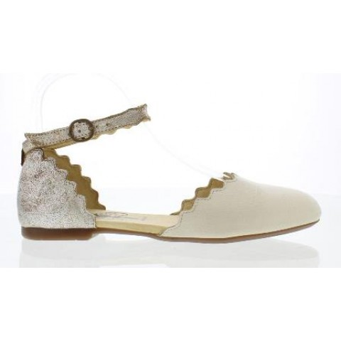 Fly London Megs Women's  Off White/Pearl Leather Shoe