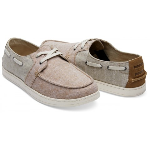 Toms Men's Culver Boat Shoes in Toffee Washed Canvas