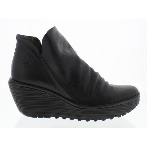 Fly London Yip Leather Ankle Boot -Black