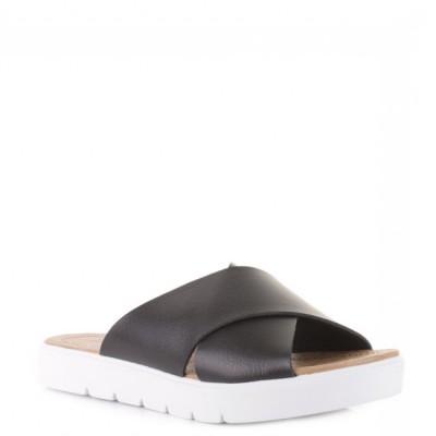 Blowfish Women's Basya Black Slider Sandal White Sole
