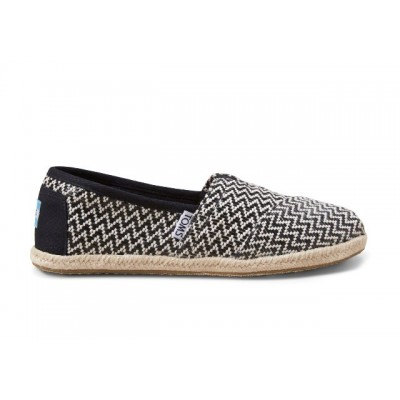 Toms Women's Classic black and white woven Slip Ons