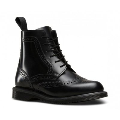 Dr Marten's Delphine Brogue Boot in Smooth Black Leather