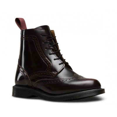 Dr Marten's Delphine Brogue Boot in Cherry Red Leather