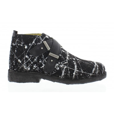 Fly Cabe Women's Leather Buckle Boot Black & White print