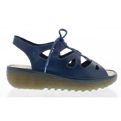 Fly London Exon Blue Leather Lace Up Wedge Sandal