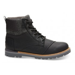 Toms Ashland Waterproof Boot - Black Leather/Wool