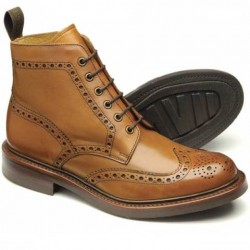 Loake Bedale Tan Brogue Boot-Goodyear welted