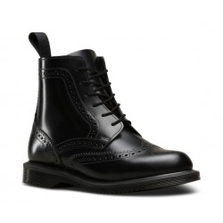 Dr Martens Delphine Brogue Boot - Smooth Black