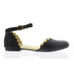 Fly Megs Women's Black Leather Shoe