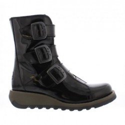 FLY London SCOP Mid Calf Boot - Patent Black