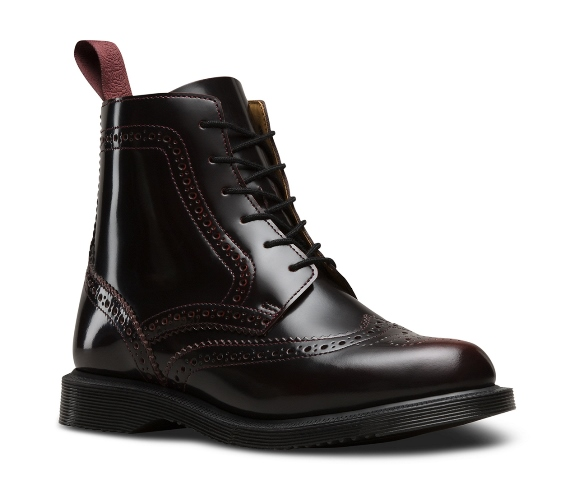 Dr Martens Delphine Brogue Boot - Cherry Red
