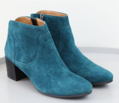 Esska Kiana Heeled Ankle Boot Teal Suede