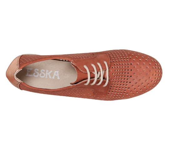 Esska Echo women's Brogue shoe-Terracotta Leather