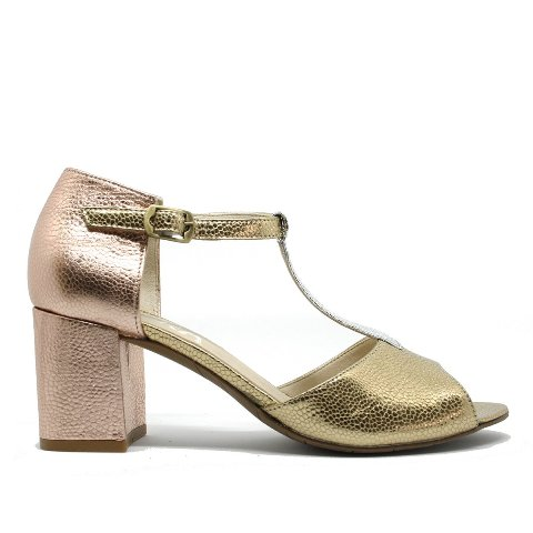 Esska Women's Fleur Heeled Sandals in Gold,Rose Gold and Silver