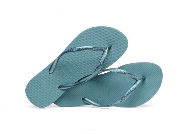 Havaianas Women's H Slim Flip Flops in Azul Mineral