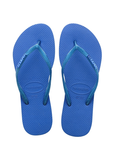 Havaianas Slim Logo Metallic flip flop in Azul Blue
