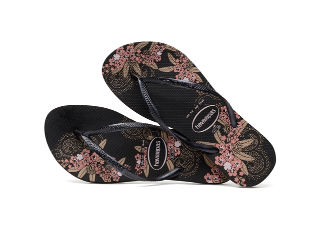Havaianas Slim Organic -Black/Pink floral