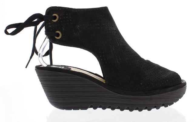 Fly London Ypul Black Wedge Sandal