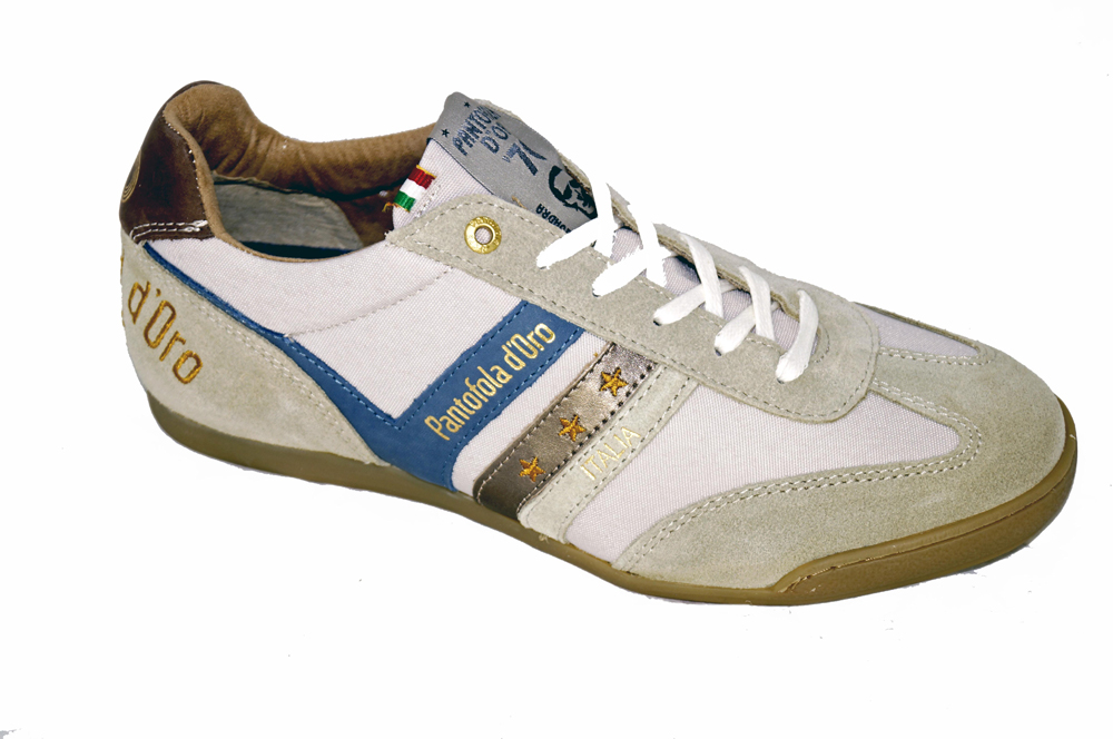 Pantofola D'Oro Men's Loreto Low in Marshmallow Grey / Metallic