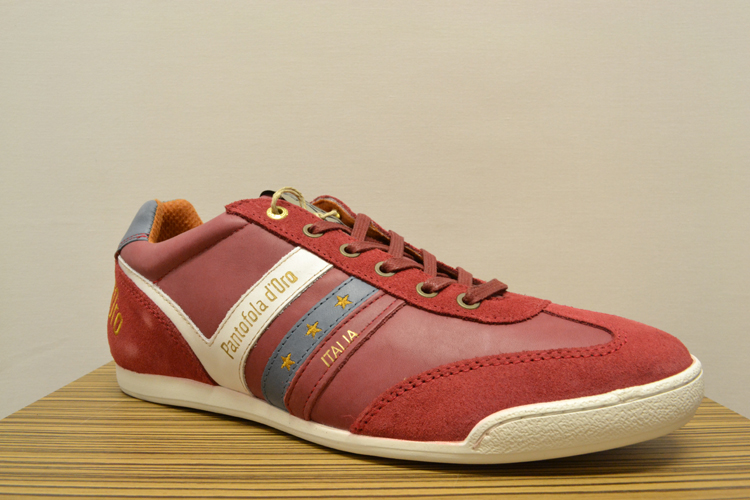 Pantofola D'Oro Men's Loreto Sports Low Rio Red Leather Trainer