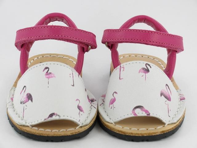 Ria Menorca Kid's leather Flamingo Sandal- white/ pink