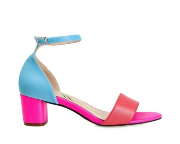 Yull Shoes Scarborough mid heel sandal- blue/pink
