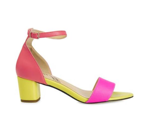 Yull Shoes Scarborough mid heel sandal- pink/yellow