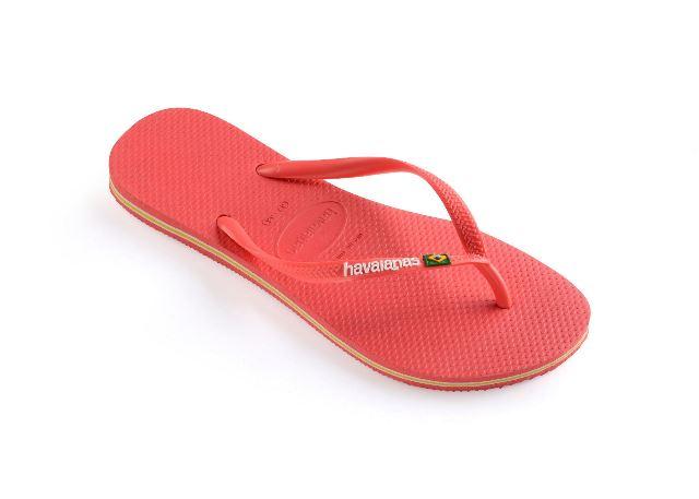 Havaianas Slim Brasil Logo Flip Flops Coral