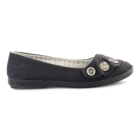 Blowfish Women's Gayls Flat Shoe in Black Canvas