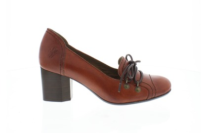 Fly London Women's Buni Red 'glass' leather  Court Shoe