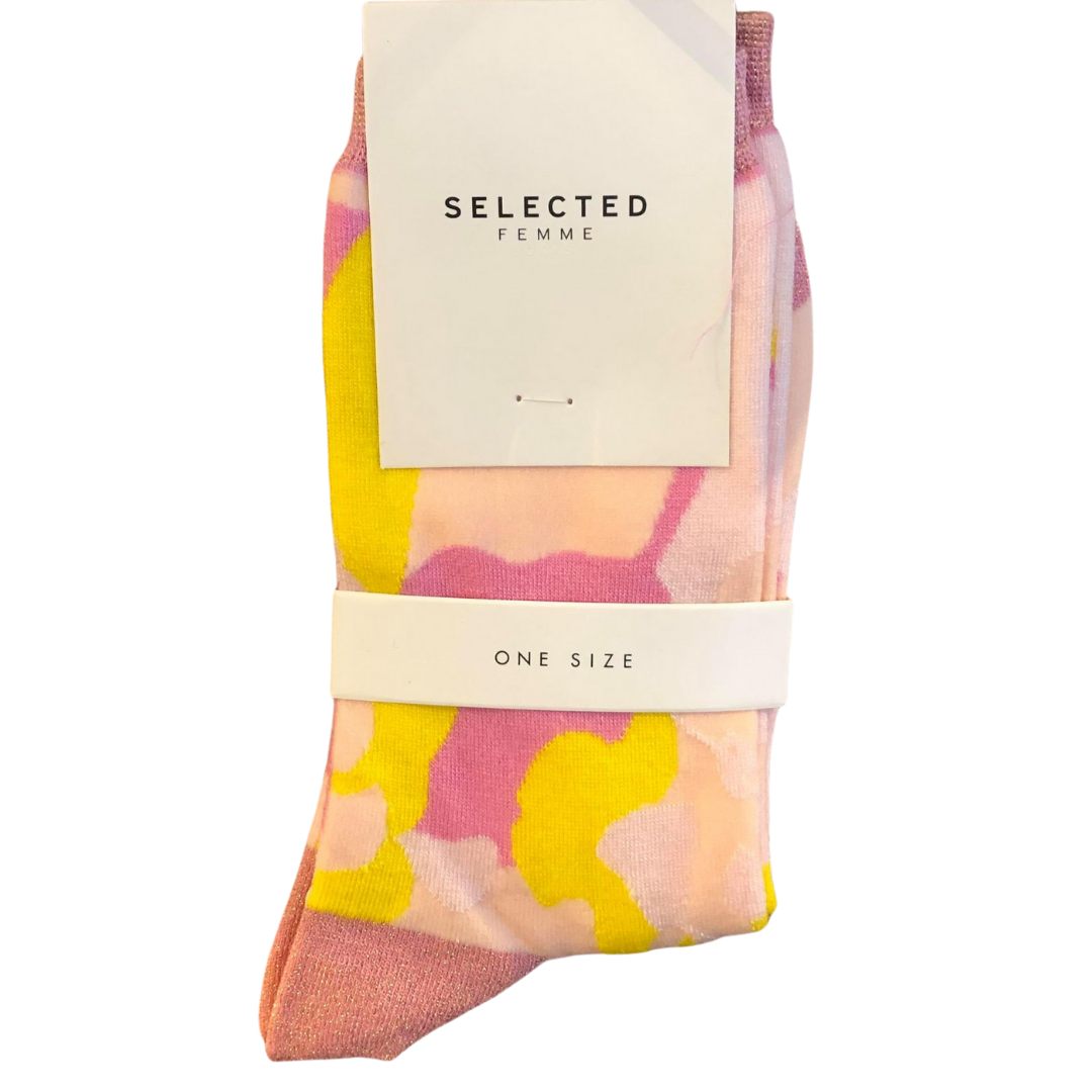 SELECTED Femme Socks - Pink/Yellow
