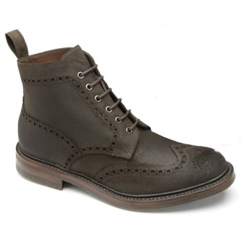 Loake Bedale Brogue boot-Brown Waxy