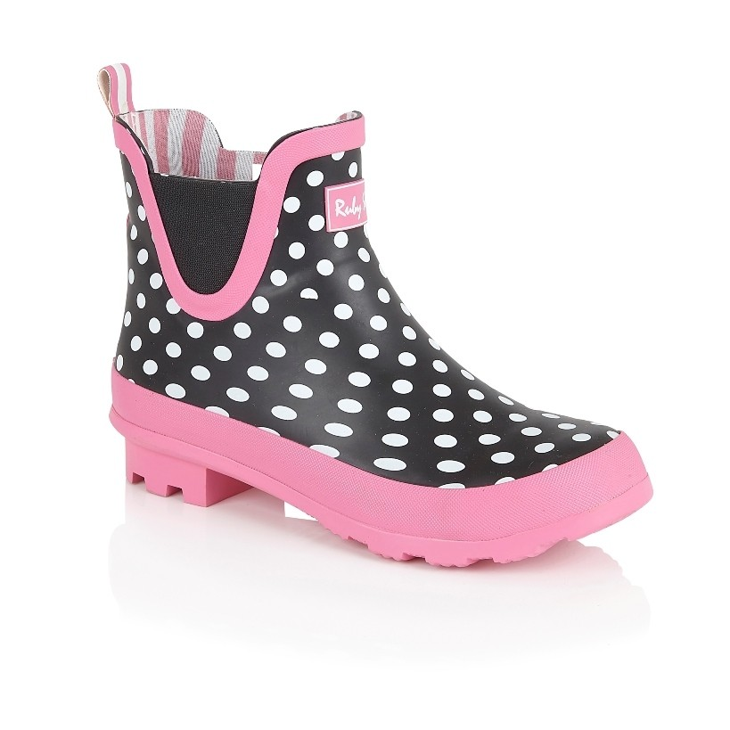 Ruby Shoo Ginny Welly - Black/White Spots