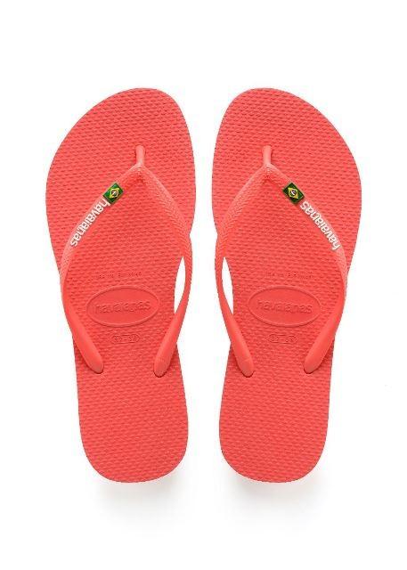 Havaianas Slim Brasil Logo Flip Flops Flamingo Pink