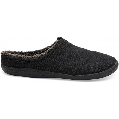 Toms Berkeley Mens fleece slippers-Black