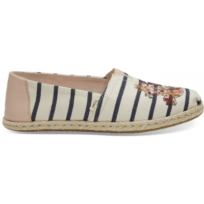 Toms Floral Embroidery Striped Shoe-cream