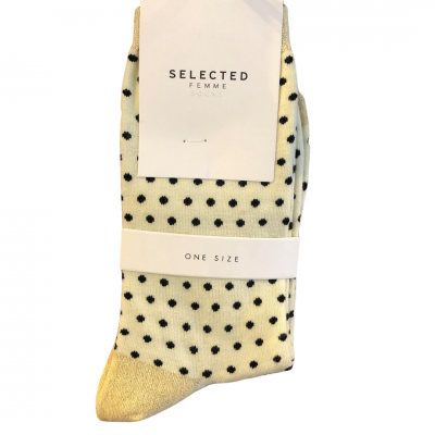 SELECTED Femme Socks - Cream/Black Spots