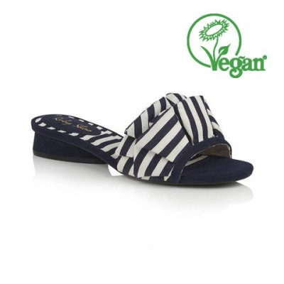 Ruby Shoo Alena Mule - Navy Stripe - Vegan