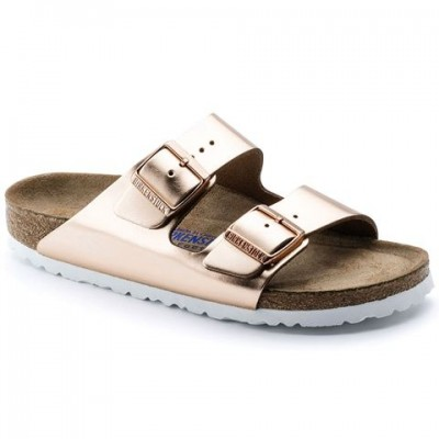 Birkenstock Arizona Metallic Copper Leather-soft footbed