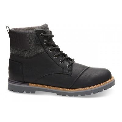 Toms Ashland Waterproof Boot - Black Leather/Wool
