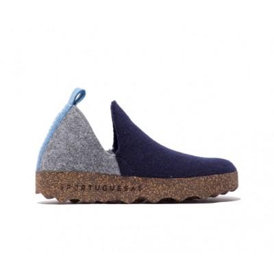 Asportuguesas City wool slipper- Navy/concrete
