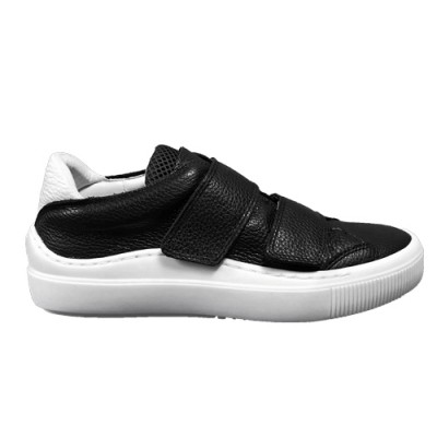 Fly London Sevu twin strap trainer-Black/white