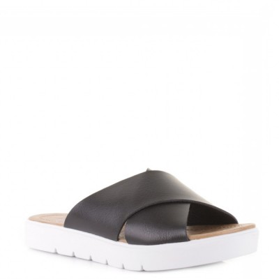 Blowfish Women's Basya Black Slider Sandal White Sole