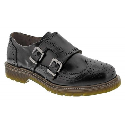 Bronx Women's Monk Brogue shoe Black Shiny Brush-off 65121-F