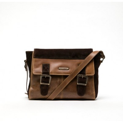 Fly London Dali Leather messenger bag-Camel